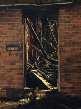 Side 'A' entrance after units cleared the scene, 4 1/2 hours after the initial '911' call. Photo: FF Josh Vogel (NWFD)